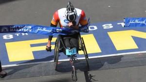 Ernst van Dyk, wheelchair winner of the 2014 Boston Marathon